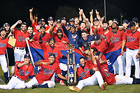 Elizabethton Twins players celebrate and pose with the championship trophy after winning the Appalachian League Championship Series against the Princeton Rays 2-1 at Joe O'Brien Field on September 5, 2018 in Elizabethton, Tennessee. (Tony Farlow/Four Seam Images)