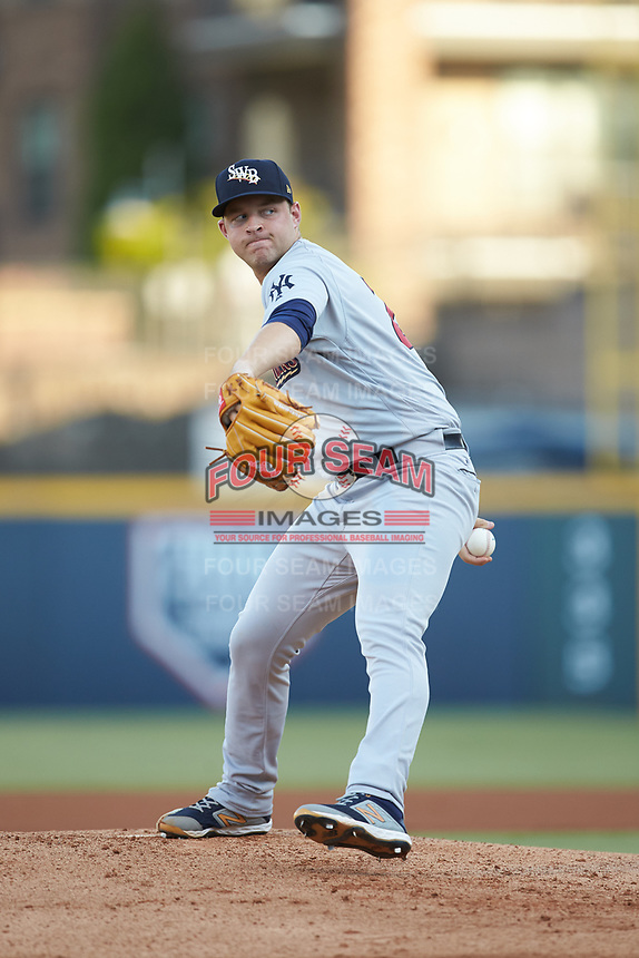 Scranton/Wilkes-Barre RailRiders starting pitcher Michael King (26) in action against the Gwinnett Stripers at Coolray Field on August 16, 2019 in Lawrenceville, Georgia. The Stripers defeated the RailRiders 5-2. (Brian Westerholt/Four Seam Images)