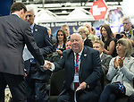 © Joel Goodman - 07973 332324 . 13/06/2016 . Liverpool , UK . Chancellor of the Exchequer , GEORGE OSBORNE shakes hands with the Mayor of Liverpool JOE ANDERSON at the International Festival for Business at the Liverpool Exhibition Centre . Photo credit : Joel Goodman