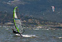 Action Photo of windsurfers on Okanagan Lake, British Columbia.