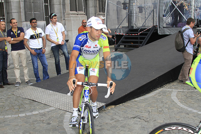 Liquigas-Cannondale team rider Vincenzo Nibali (ITA) leaves the stage at the Team Presentation Ceremony before the 2012 Tour de France in front of The Palais Provincial, Place Saint-Lambert, Liege, Belgium. 28th June 2012.<br /> (Photo by Eoin Clarke/NEWSFILE)