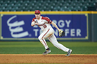 Arkansas Razorbacks first baseman Heston Kjerstad (18) on defense against the Baylor Bears in game nine of the 2020 Shriners Hospitals for Children College Classic at Minute Maid Park on March 1, 2020 in Houston, Texas. The Bears defeated the Razorbacks 3-2. (Brian Westerholt/Four Seam Images)