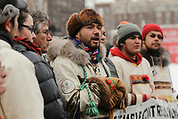Crees stand against uranium mining in northen quebec, december 16, 2014 in downtown Montreal,Qc, CANADA.<br /> <br /> PHOTO : Agence Quebec Presse - stringer