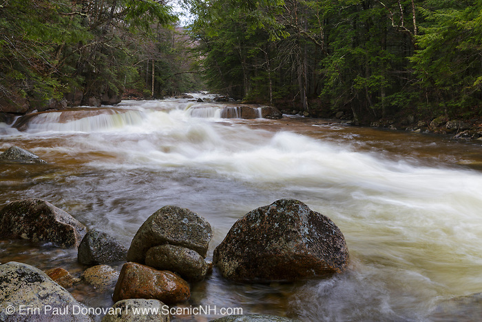 The Pemigewasset River near the Flume Visitor Center in Franconia Notch State Park of Lincoln, New Hampshire USA during the spring months.