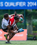 Fiji vs Portugal during the Day 2 of the IRB Women's Sevens Qualifier 2014 at the Skek Kip Mei Stadium on September 13, 2014 in Hong Kong, China. Photo by Aitor Alcalde / Power Sport Images