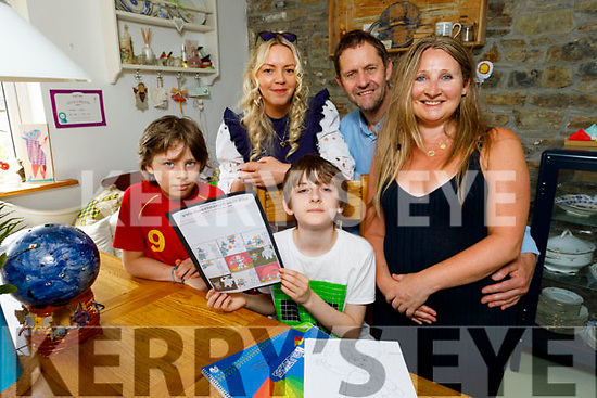 Benjamins Tebbs at home in Athea who has autism and has created a comic book hero called Super Dog. <br /> Front l to r: Ben Leahy and Benjamins Tebbs.<br /> Back l to r: Magedelina Lanedzak, Stephen Tebbs and Yvonne Leahy.
