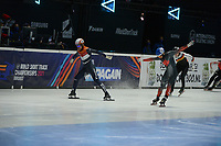 SPEEDSKATING: DORDRECHT: 05-03-2021, ISU World Short Track Speedskating Championships, Heats 500m Men, Sjinkie Knegt (NED), Steven Dubois (CAN), ©photo Martin de Jong