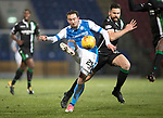 St Johnstone v Hibs…16.03.18…  McDiarmid Park    SPFL<br />Chris Kane's shot is handled by Ofic Marciano outside the box<br />Picture by Graeme Hart. <br />Copyright Perthshire Picture Agency<br />Tel: 01738 623350  Mobile: 07990 594431