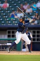 Northwest Arkansas Naturals designated hitter Samir Duenez (9) at bat during a game against the Midland RockHounds on May 27, 2017 at Arvest Ballpark in Springdale, Arkansas.  NW Arkansas defeated Midland 3-2.  (Mike Janes/Four Seam Images)