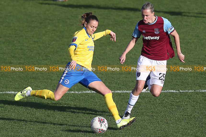 Kayleigh Green of Brighton and Emily van Egmond of West Ham during West Ham United Women vs Brighton & Hove Albion Women, Barclays FA Women's Super League Football at the Chigwell Construction Stadium on 15th November 2020