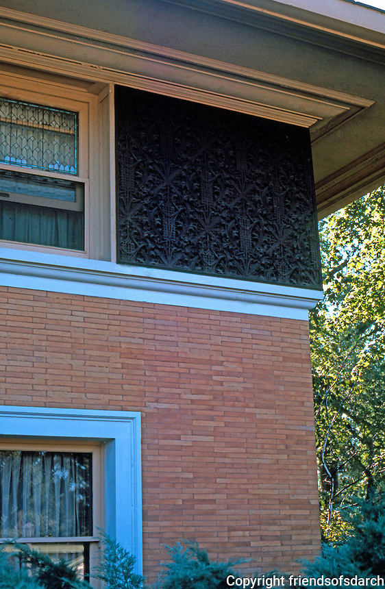 F.L. Wright: Winslow House, 1893. Detail--upper story.  Photo '76.