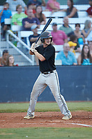 James Goodwin (23) (Virginia State) of the Concord A's at bat against the Mooresville Spinners at Moor Park on July 31, 2020 in Mooresville, NC. The Spinners defeated the Athletics 6-3 in a game called after 6 innings due to rain. (Brian Westerholt/Four Seam Images)