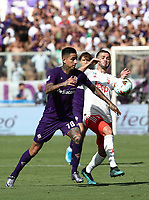 Calcio, Serie A: Fiorentina - Juventus, stadio Artemio Franchi Firenze 14 settembre 2019<br /> Juventus' Miralem Pjanic (r) in action with Fiorentina's Erick Pulgar (l) during the Italian Serie A football match between Fiorentina and Juventus at Florence's Artemio Franchi stadium, September 14, 2019. <br /> UPDATE IMAGES PRESS/Isabella Bonotto