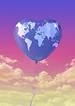 Illustration of heart shape balloon with world map flying against sky