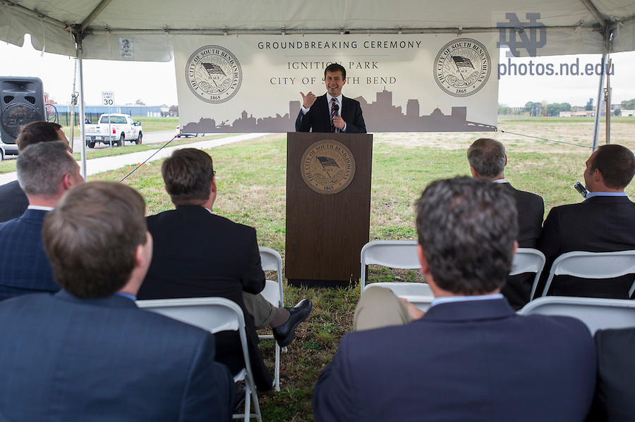 Oct. 15, 2014; Mayor Peter Buttigieg speaks at the ground breaking for the ND Turbo Machinery facility in South Bend. Photo by Barbara Johnston/University of Notre Dame)