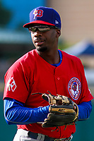 Buffalo Bisons second baseman Darnell Sweeney (29)  warms up in the outfield prior to an International League game against the Indianapolis Indians on July 28, 2018 at Victory Field in Indianapolis, Indiana. Indianapolis defeated Buffalo 6-4. (Brad Krause/Four Seam Images)