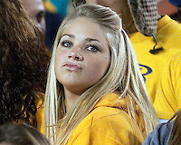WVU fan. The West Virginia Mountaineers defeated the South Florida Bulls 20-6 on October 14, 2010 at Mountaineer Field, Morgantown, West Virginia.