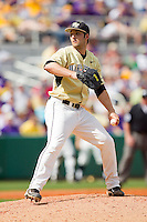 Relief pitcher Niko Spezial #27 of the Wake Forest Demon Deacons in action against the LSU Tigers at Alex Box Stadium on February 20, 2011 in Baton Rouge, Louisiana.  The Tigers defeated the Demon Deacons 9-1.  Photo by Brian Westerholt / Four Seam Images