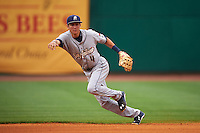 San Antonio Missions shortstop Trea Turner (4) field a ground ball during a game against the NW Arkansas Naturals on May 30, 2015 at Arvest Ballpark in Springdale, Arkansas.  San Antonio defeated NW Arkansas 5-1.  (Mike Janes/Four Seam Images)