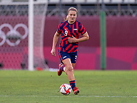 KASHIMA, JAPAN - AUGUST 5: Lindsey Horan #9 of the USWNT dribbles the ball during a game between Australia and USWNT at Kashima Soccer Stadium on August 5, 2021 in Kashima, Japan.