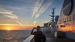 Jet Contrails over the North Atlantic Ocean from the Deck of MV Explorer. Image taken with a Leica X2 camera (ISO 100, 24 mm, f/8, 1/125 sec).