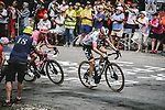 Austrian Champion Patrick Konrad (AUT) Bora Hansgrohe and Magnus Cort Nielsen (DEN) EF Education-Nippo from the breakaway during Stage 7 of the 2021 Tour de France, running 249.1km from Vierzon to Le Creusot, France. 2nd July 2021.  <br /> Picture: A.S.O./Pauline Ballet | Cyclefile<br /> <br /> All photos usage must carry mandatory copyright credit (© Cyclefile | A.S.O./Pauline Ballet)