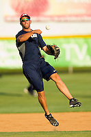 Shortstop Deven Marrero #17 (Arizona State) of the USA Baseball Collegiate National Team makes an off-balance throw to first base during fielding practice at Sims Legion Park on June 30, 2011 in Gastonia, North Carolina.  Team USA defeated the Grizzlies 12-5.  Brian Westerholt / Four Seam Images