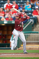 Frisco RoughRiders shortstop Drew Robinson (16) at bat during a game against the Springfield Cardinals on June 3, 2015 at Hammons Field in Springfield, Missouri.  Springfield defeated Frisco 7-2.  (Mike Janes/Four Seam Images)