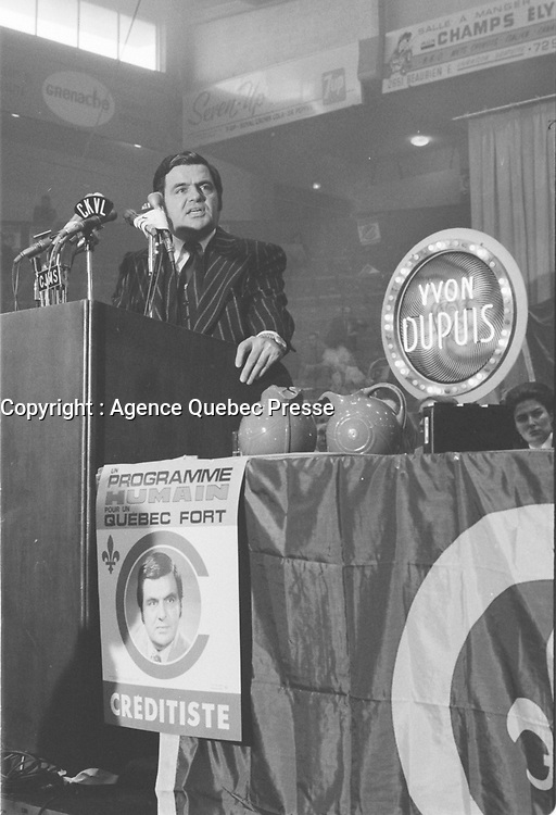 Le chef du Ralliement créditiste du Quebec,<br />  Yvon Dupuis, <br /> 21 Octobre 1973,<br /> <br /> PHOTO  : Agence Quebec Presse - Alain Renaud