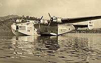 Boeing 314A Clipper flying boat, N18611, the Anzac Clipper, on Clear Lake, Lake County, California