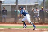 Milwaukee Brewers third baseman Chad McClanahan (72) starts down the first base line during an Instructional League game against the Los Angeles Dodgers at Maryvale Baseball Park on September 24, 2018 in Phoenix, Arizona. (Zachary Lucy/Four Seam Images)