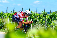 17th July 2021, St Emilian, Bordeaux, France;  SKUJINS Toms (LAT) of TREK - SEGAFREDO during stage 20 of the 108th edition of the 2021 Tour de France cycling race, an individual time trial stage of 30,8 kms between Libourne and Saint-Emilion.