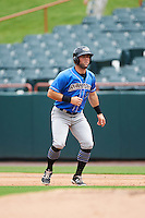 Akron RubberDucks third baseman Joe Sever (9) leads off first during the first game of a doubleheader against the Bowie Baysox on June 5, 2016 at Prince George's Stadium in Bowie, Maryland.  Bowie defeated Akron 6-0.  (Mike Janes/Four Seam Images)
