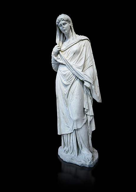 Roman funerary statue of a women in the Large Herculaneum style, Found in the cemetery of Stagiou Street, Athens, Athens Archaeological Museum, cat no 32622. Against black<br /> <br /> This statue is the typle known as the Large Herculaneum Wome. She wears a full length chiton and himation that covers her head and entire body. Dating from the 1st cent AD it is a copy of an earlier statue circa 320 BC, probably by Praxiteles