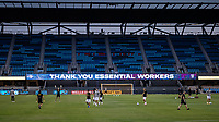 SAN JOSE, CA - SEPTEMBER 19: Essential Worker sign during a game between Portland Timbers and San Jose Earthquakes at Earthquakes Stadium on September 19, 2020 in San Jose, California.