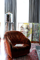 living room with artworks