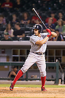 Garin Cecchini (3) of the Pawtucket Red Sox at bat against the Charlotte Knights at BB&T Ballpark on August 9, 2014 in Charlotte, North Carolina.  The Red Sox defeated the Knights  5-2.  (Brian Westerholt/Four Seam Images)