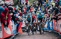 Luis Leon Sanchez (ESP/Astana) & Co. up the infamous Monte Zoncolan (1735m/11%/10km)<br /> <br /> stage 14 San Vito al Tagliamento – Monte Zoncolan (186 km)<br /> 101th Giro d'Italia 2018