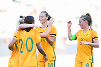 Carson, CA - Thursday August 03, 2017: Tameka Butt, Sam Kerr, Emily Van Egmond, Elise Kellond-Knight during a 2017 Tournament of Nations match between the women's national teams of Australia (AUS) and Brazil (BRA) at the StubHub Center.