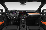 Stock photo of straight dashboard view of 2019 Audi Q3 S-line 5 Door SUV Dashboard