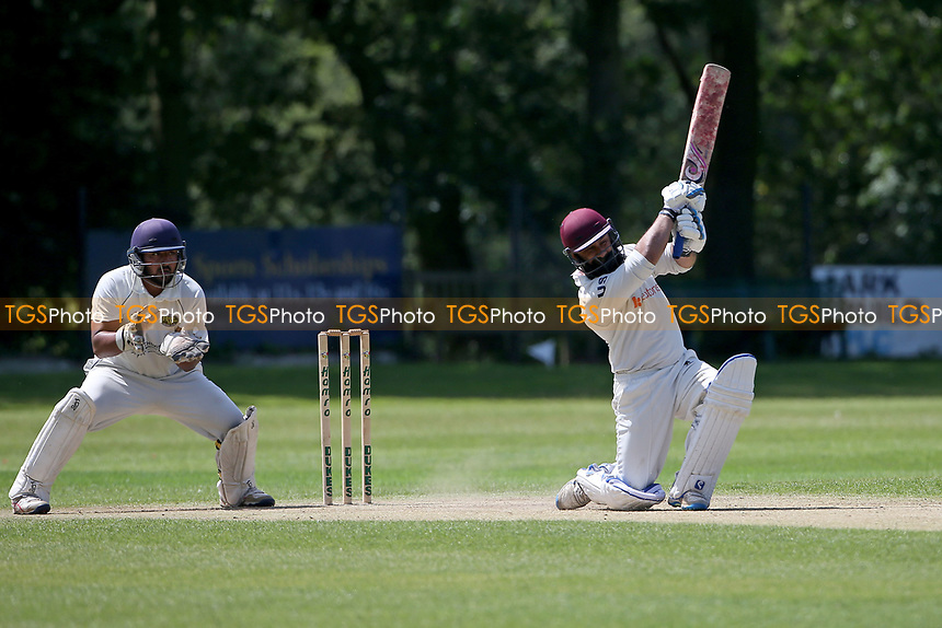 Adnan Akram hits out for Wanstead during Wanstead and Snaresbrook CC vs Harold Wood CC, Hamro Foundation Essex League Cricket at Overton Drive on 17th July 2021