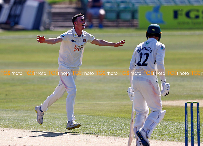 Nathan Gilchrist of Kent celebrates after taking the final Worcestershire wicket that of Dillon Pennington during Kent CCC vs Worcestershire CCC, LV Insurance County Championship Division 3 Cricket at The Spitfire Ground on 7th September 2021