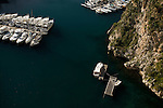 Aerial view of boats and sailing yachts docked in Monaco, France.