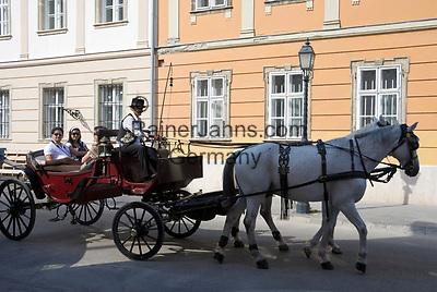 HUN, Ungarn, Budapest, Stadteil Buda, Burgviertel: Fahrt mit dem Fiakerl durchs Burgviertel | HUN, Hungary, Budapest, Castle District: with a horse-drawn carriage through Castle District