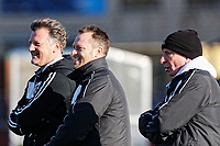 Pictured: Manager Michael Flynn (C) with two of his coaches. Thursday 18 January 2018<br /> Re: Players and staff of Newport County Football Club prepare at Newport Stadium, for their FA Cup game against Tottenham Hotspur in Wales, UK