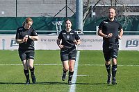 assistant referee Heidi Houtthave , referee Irmgard Van Meirevenne and assistant referee Beau Van Vaerenbergh pictured before a female soccer game between  AA Gent Ladies and RSC Anderlecht on the 17th matchday of the 2020 - 2021 season of Belgian Scooore Womens Super League , saturday 20 th of March 2021 in Oostakker , Belgium . PHOTO SPORTPIX.BE | SPP | STIJN AUDOOREN