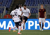 Calcio, Serie A: Roma vs Bologna. Roma, stadio Olimpico, 11 aprile 2016.<br /> Bologna's Luca Rossettini, second from right, celebrates with teammates after scoring during the Italian Serie A football match between Roma and Bologna at Rome's Olympic stadium, 11 April 2016.<br /> UPDATE IMAGES PRESS/Isabella Bonotto