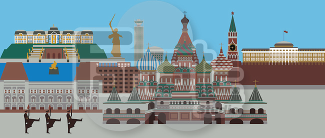 Illustration showing top tourist attractions in Russia