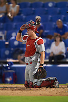 Palm Beach Cardinals catcher Carson Kelly (19) during the second game of a doubleheader against the Dunedin Blue Jays on July 31, 2015 at Florida Auto Exchange Stadium in Dunedin, Florida.  Dunedin defeated Palm Beach 4-0.  (Mike Janes/Four Seam Images)