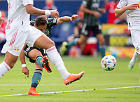CARSON, CA - APRIL 25: Javier Hernandez #14 of the Los Angeles Galaxy takes a shot on goal during a game between New York Red Bulls and Los Angeles Galaxy at Dignity Health Sports Park on April 25, 2021 in Carson, California.